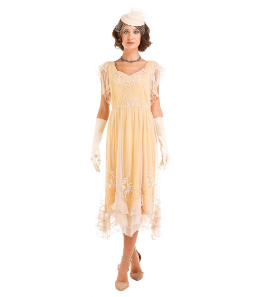 Age of Love Olivia 1920s Flapper Style Dress in Lemon by Nataya