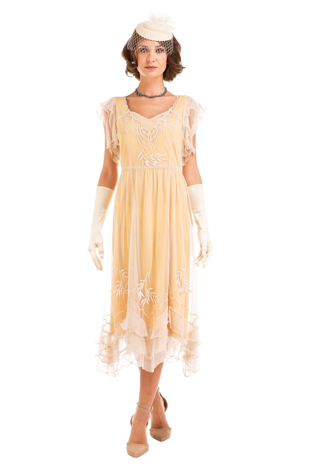 Age Of Love Olivia 1920s Flapper Style Dress In Lemon By