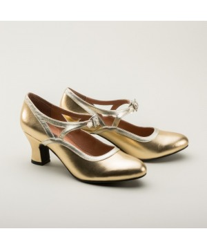Roxy 1920s Flapper Shoes in Gold