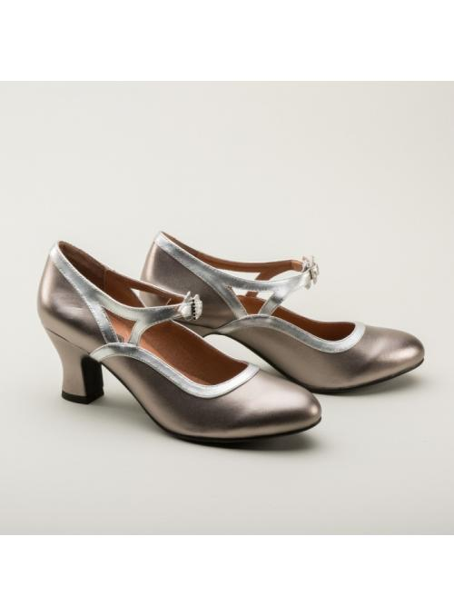 Roxy 1920s Flapper Shoes in Silver by Royal Vintage Shoes