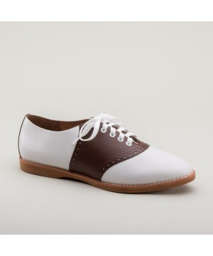 Susie Classic Saddle Shoes in Brown/White by Royal Vintage Shoes
