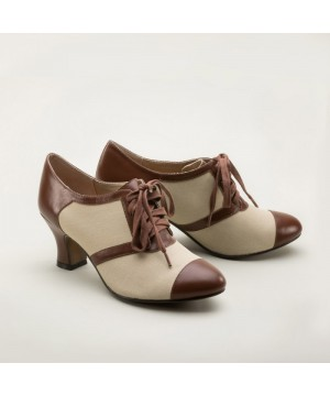Evelyn Retro Oxfords in Tan/Brown by Royal Vintage Shoes