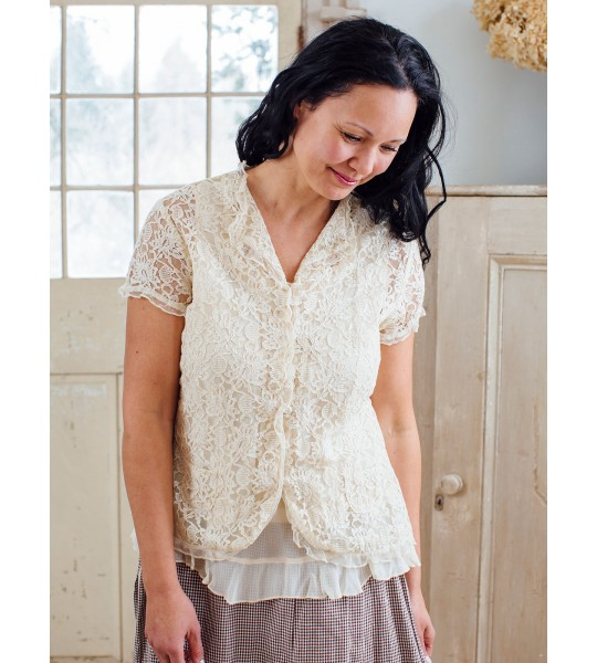 Sophia Vintage Inspired Lace Cover-Up in Ecru by April Cornell