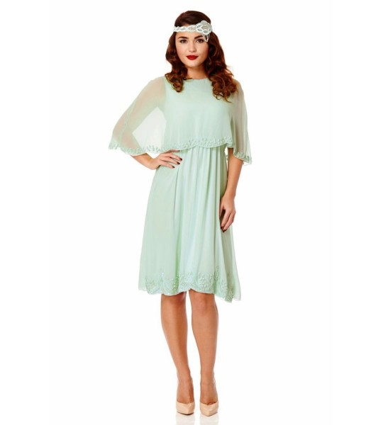 Flapper Style Cape Dress in Mint