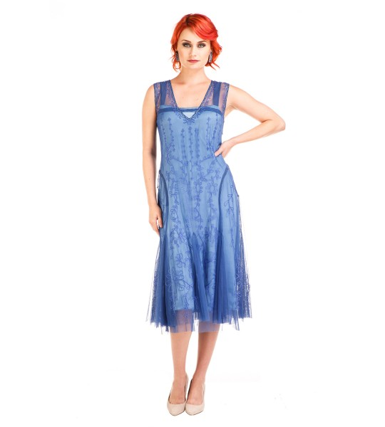 Age of Love Jackie 1920s Flapper Style Dress in Periwinkle by Nataya