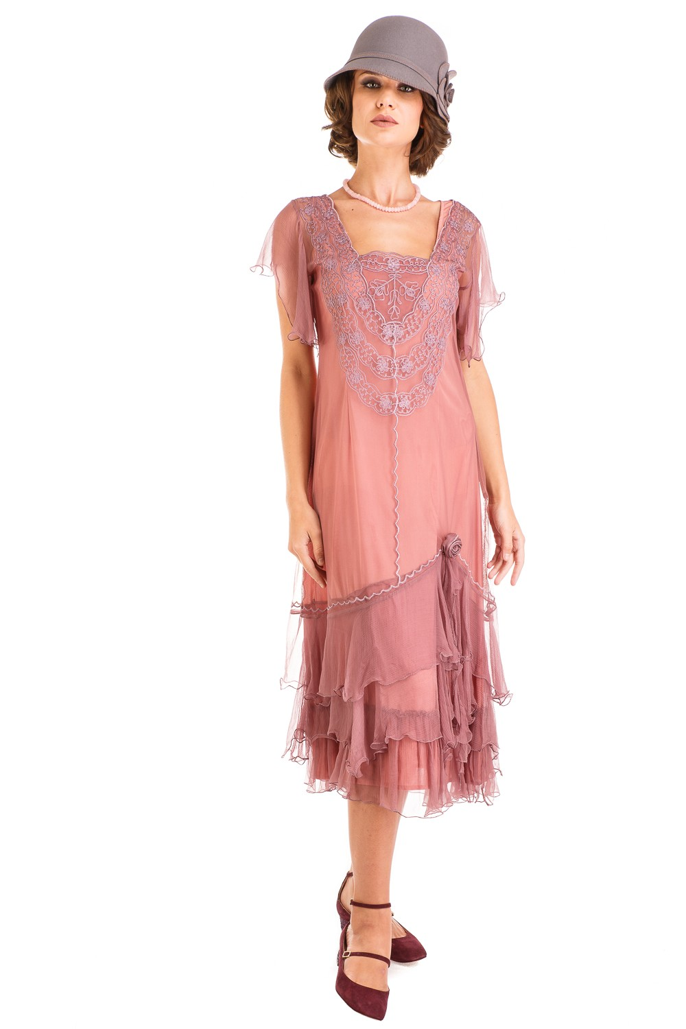Age of Love Alexa 1920s Flapper Style Dress in Mauve by Nataya