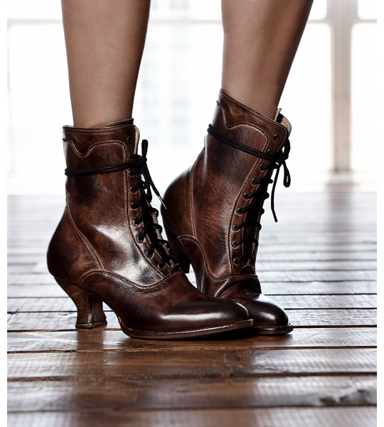 Elizabeth Victorian Inspired Leather Ankle Boots in Teak Rustic by Oak Tree Farms