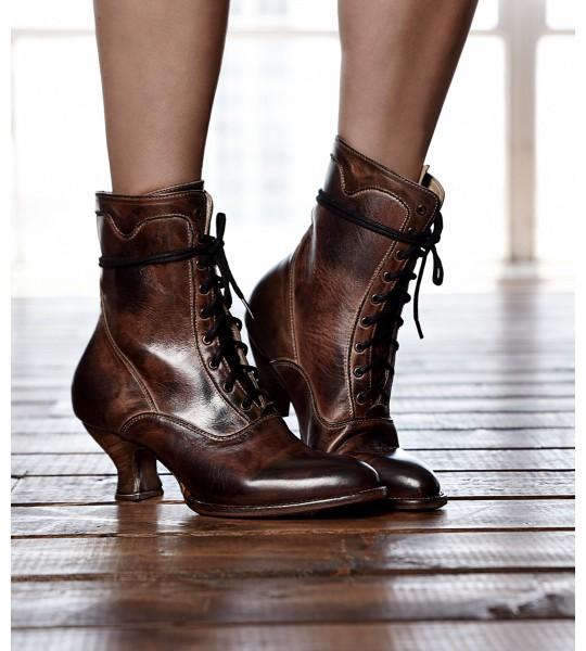 Elizabeth Victorian Inspired Leather Ankle Boots in Teak Rustic by Oak Tree Farms