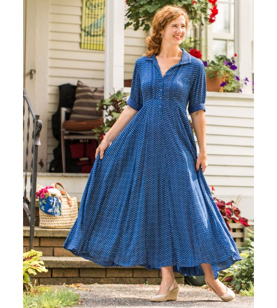 Romantic Rustic Dot Dress in Blue by April Cornell