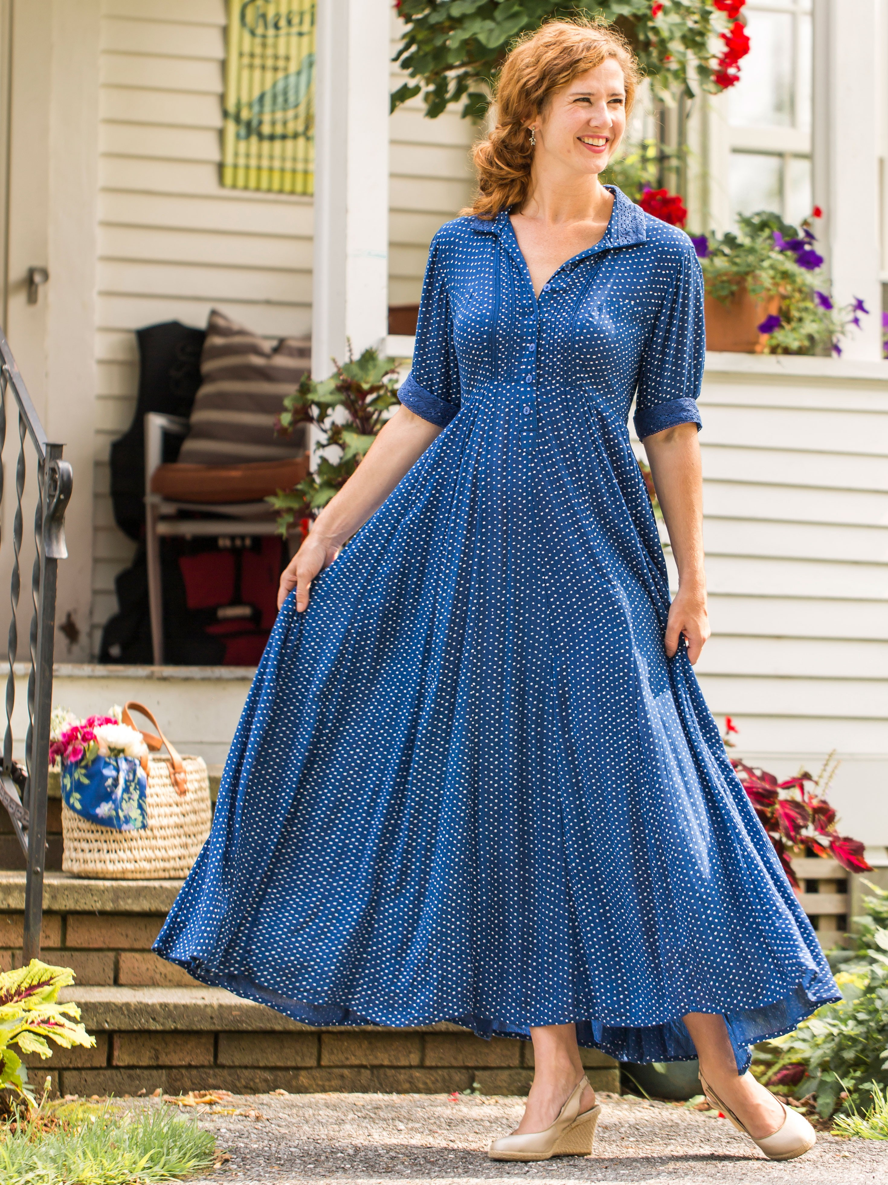 Romantic Rustic Dot Dress In Blue By April Cornell View Larger