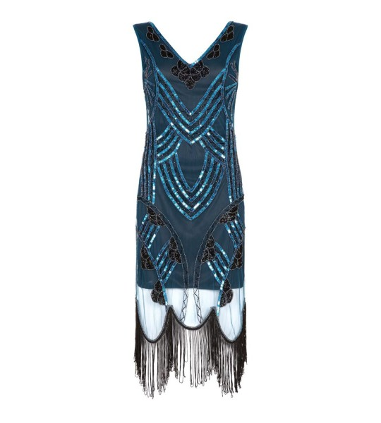 Roaring 20s Fringe Dress in Teal Black