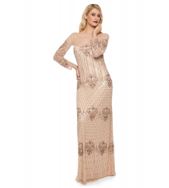 1920s Inspired Evening Maxi Dress in Champagne