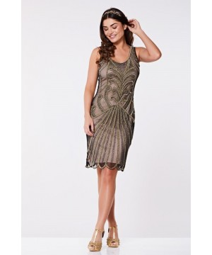 Art Deco Cocktail Dress in Nude Black
