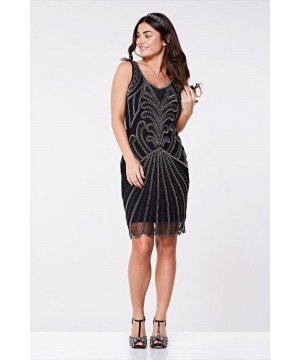 Art Deco Cocktail Dress in Black Silver