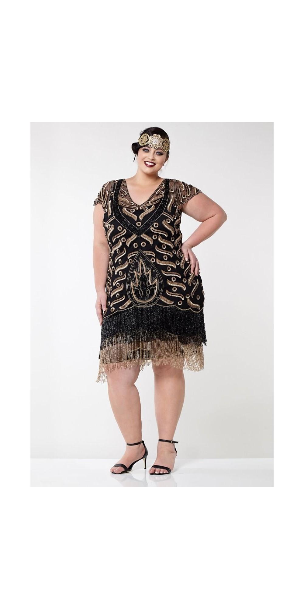 Art Deco Fringe Party Dress in Black Gold