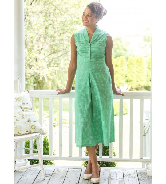 Vintage Inspired Romantic Dot Porch Dress in Green by April Cornell