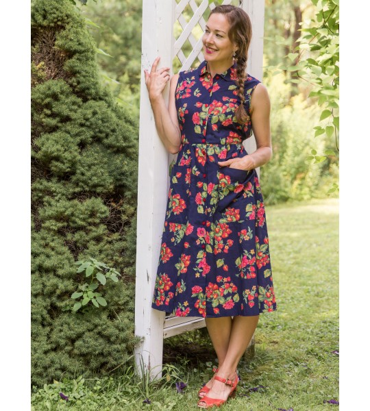 Vintage Inspired Porch Dress in Navy by April Cornell