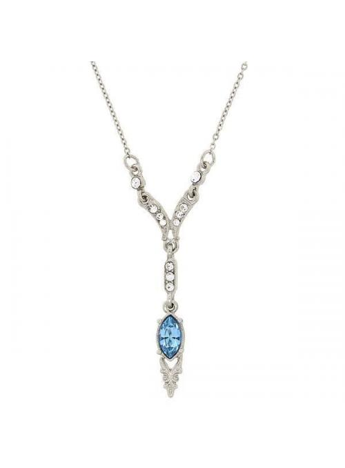 Downton Abbey Aquamarine Crystal Y Necklace by 1928 Jewelry