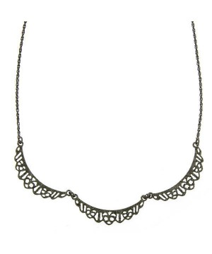 Downton Abbey Black Filigree Scalloped Collar Necklace by 1928 Jewelry