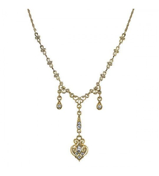 Downton Abbey Crystal Triple Drop Y Necklace by 1928 Jewelry