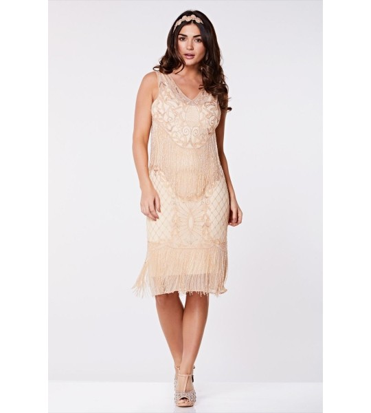 1920s Flapper Feather Dress in Nude Blush