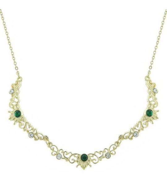 Downton Abbey Trio of Green Crystals Necklace by 1928 Jewelry