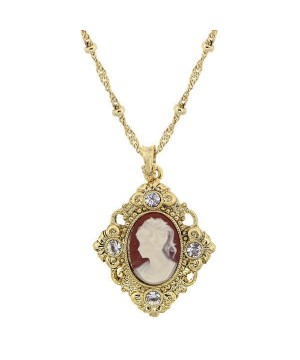 Downton Abbey Carnelian Red Cameo Necklace by 1928 Jewelry