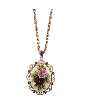 Victorian Inspired Antiqued Rose Necklace by 1928 Jewelry