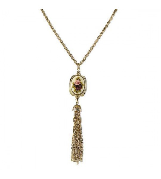 Victorian Inspired 3-sided Stone With Tassels Necklace by 1928 Jewelry