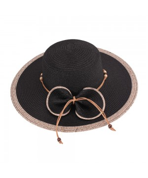 Vintage Inspired Bow Paper Braid Hat in Black