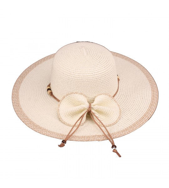 Vintage Inspired Bow Paper Braid Hat in Ivory