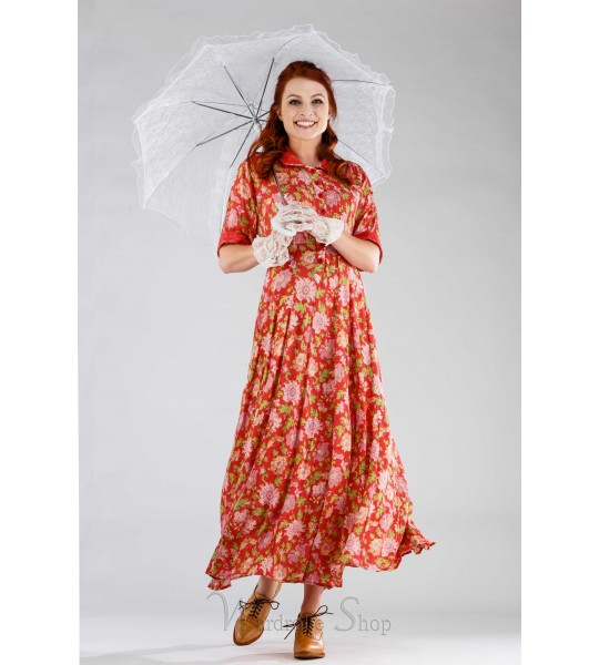 Romantic Floral Dress in Coral by April Cornell