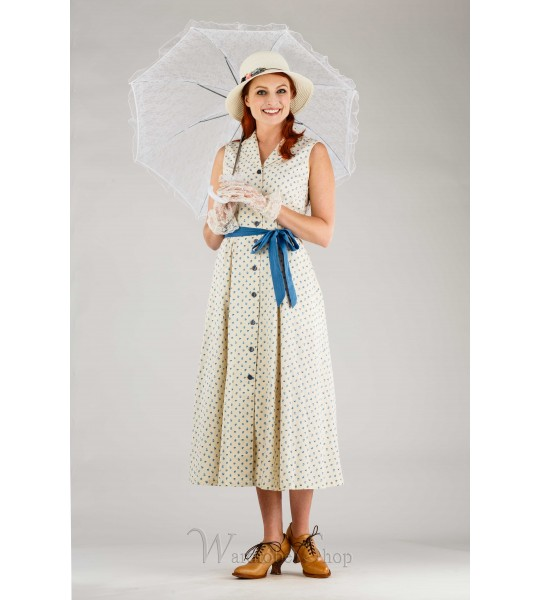 Romantic Vintage Inspired French Dress in Blue/White by April Cornell