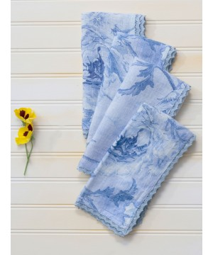 Rural Floral Napkin in Soft Blue by April Cornell