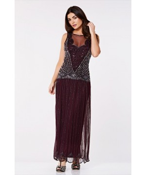 Vintage Inspired Drop Waist Maxi Dress in Plum