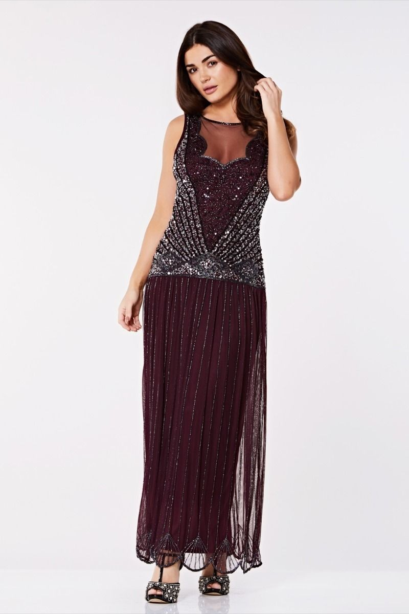0c5c58c59c9 Glass beads and sequins on an off white background make this Vintage  Inspired Drop Waist Maxi Dress in Plum unusually glamorous and sexy.