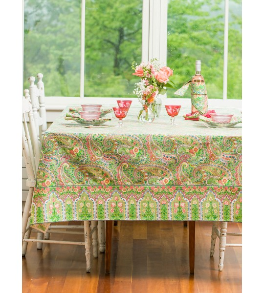 Sweet Potato Pie Cotton Tablecloth in Green by April Cornell