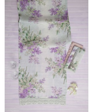 Double Berry-Almond Galette Linen Runner in Lavender by April Cornell