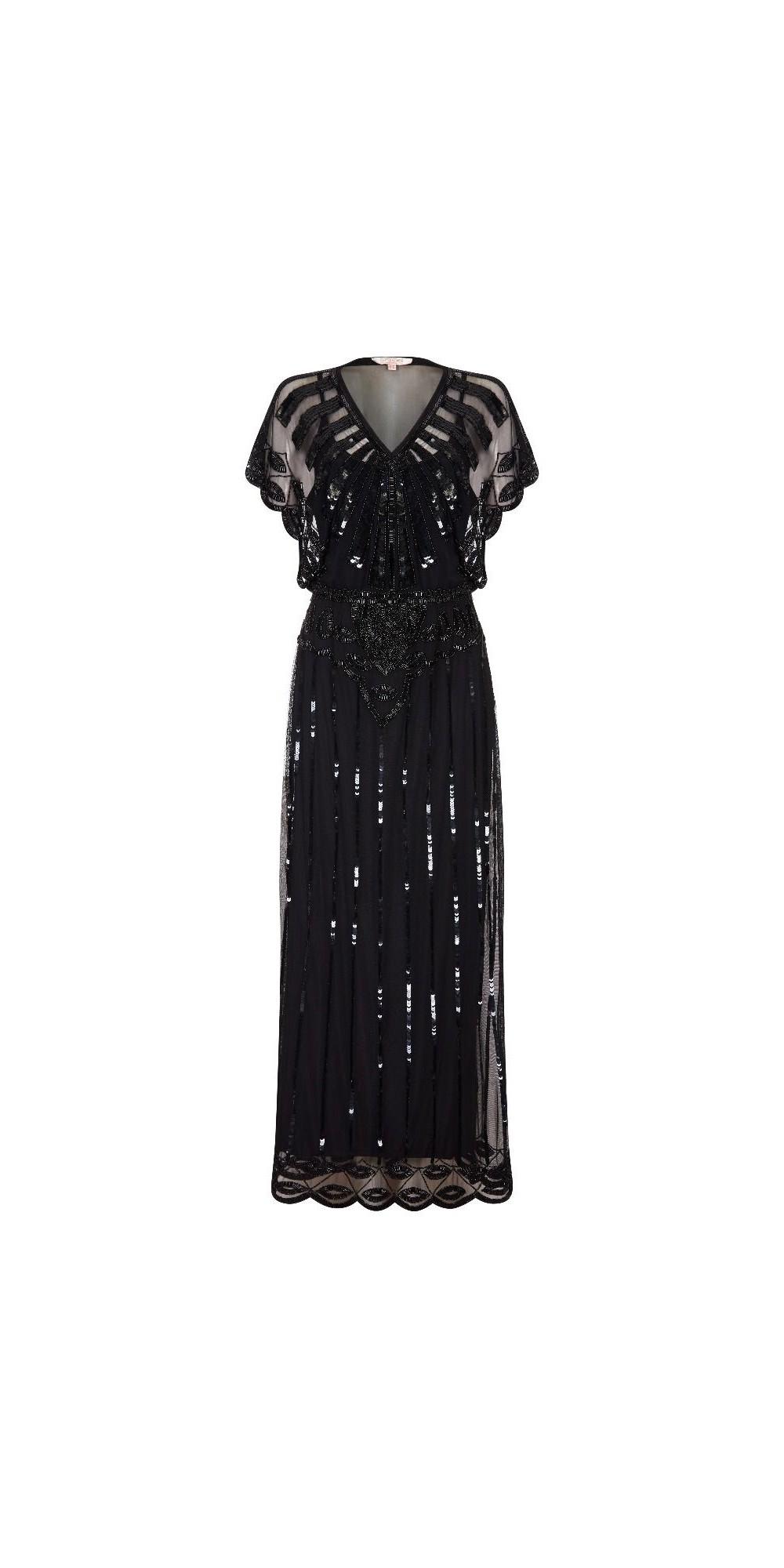 Gatsby Style Maxi Dress In Black