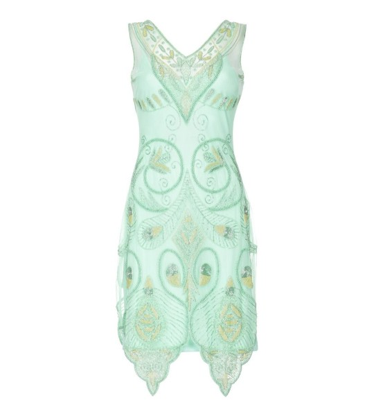 Flapper Style Peacock Dress in Mint