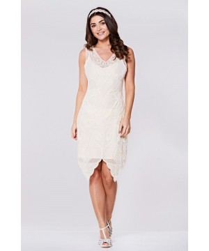 Flapper Style Peacock Dress in Cream