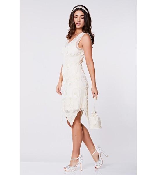 1920s Wedding Dresses- Art Deco Wedding Dress, Gatsby Wedding Dress Flapper Style Peacock Dress in Cream $139.00 AT vintagedancer.com