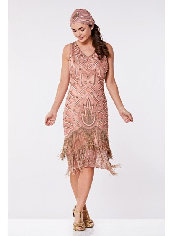 Old Hollywood Fringe Dress in Rose