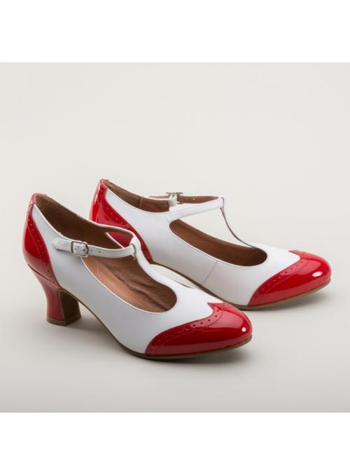 Gatsby Two-Tone Shoes in Red/White by Royal Vintage Shoes