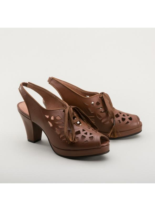 Rita 1940s Cutout Platform Slingbacks in Brown by Royal Vintage Shoes
