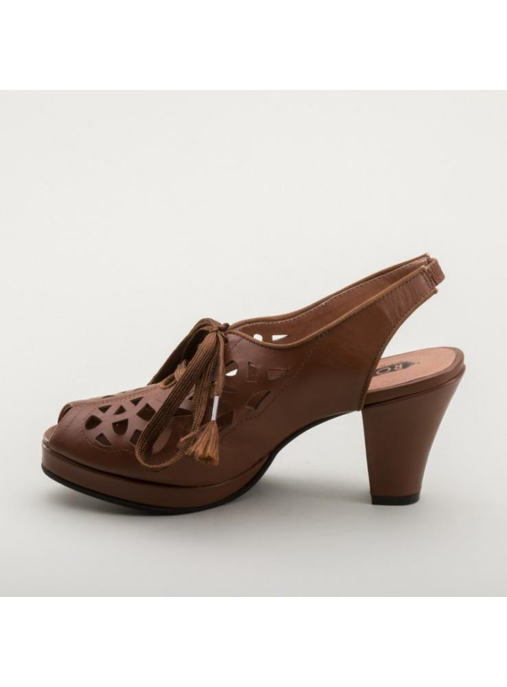 60aec653170 Rita 1940s Cutout Platform Slingbacks in Brown by Royal Vintage Shoes