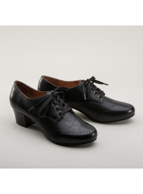 Claire 1940s Oxfords in Black by Royal Vintage Shoes