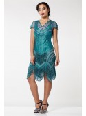 1920s Cocktail Party Dress in Teal