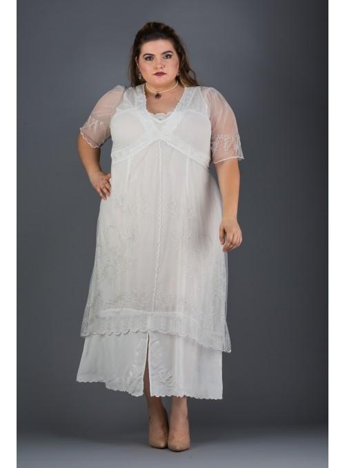 Plus Size Vintage Titanic Dress in Ivory by Nataya