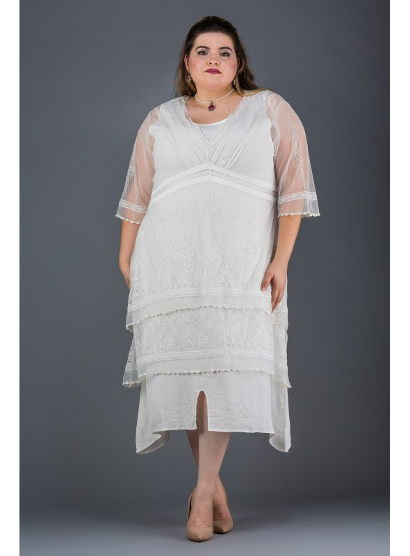 Plus SIze Vintage Titanic Tea Dress in Ivory by Nataya